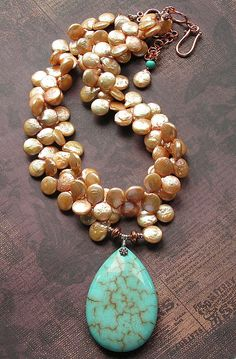freshwater coin pearls & turquoise . . .