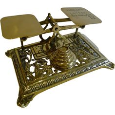 Antique English Brass Postal or Letter Scales - Reg. Number for 1886