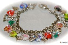 Lampwork Heart Charm Bracelet Antique Silver by DJAjewels on Etsy, $65.00