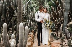 Set amongst a plethora of cacti, the wildness of the flora contrasts the soft, pure silk ribbons and the delicate lace gown. @estellaphoto captures the unique location of Logwoods, nestled in the hinterland of the Sunshine Coast. All credits on the blog.  #styledshoot #cacti #weddinginspo #couple #bridalfashion #whitemagazine