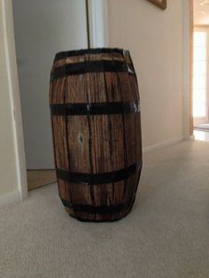 cardboard barrel for Halloween pirate or old west theme