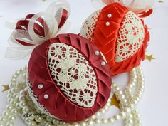 Lace ornament quilted ball ornament handmade ornament by Gydesi