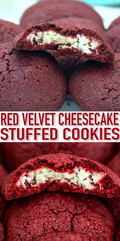Cheesecake Stuffed Red Velvet Cookies are creamy, festive, and are the perfect treat to have during the holiday season. You get a dessert which is the best of both worlds. A delicious red velvet filled with cream cheese, in cookie form! Easy Baking Recipes, Easy Cookie Recipes, Healthy Dessert Recipes, Sweet Recipes, Delicious Desserts, Yummy Food, Delicious Chocolate, Fast And Easy Desserts, Baking Ideas
