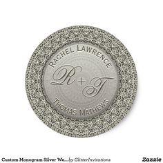 Shop Custom Monogram Silver Wedding Seal created by GlitterInvitations. Rachel Thomas, Glitter Invitations, Wedding Stickers, Art Reproductions, Seal, Monogram, Personalized Items, Silver, Monogram Tote