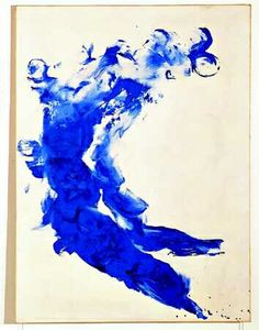 Anthropometry - Yves Klein. I believe the artist patented this colour and called it Klein Blue