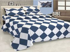 14''5 Pc Egyp.Cotton Lt Sky Blue & White Diamond Style Duvet Cover Set Olyqueen