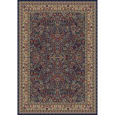 Concord Global Trading Jewel Sarouk Navy 6 ft. 7 in. x 9 ft. 3 in. Area Rug - 41146 at The Home Depot