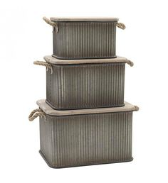 S_3 METAL TRUNK IN GREY COLOR W_WOODEN COVER 51X37X32