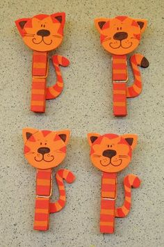 10 Ideas for decorating wooden clothespins ~ Mimundomanual Animal Crafts For Kids, Craft Projects For Kids, Diy Crafts For Kids, Art For Kids, Activities For Kids, Arts And Crafts, Tiger Crafts, Cat Crafts, Craft Stick Crafts