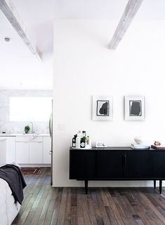 "designed-for-life: "" Country Meets Scandinavian Home There is something naturally stunning about white walls bathed in natural light, I can't get enough of it! This home renovated by home owner Amanda. Black Sideboard, Painted Sideboard, Retro Sideboard, Credenza, Black And White Interior, Black White, White Trim, Deco Design, Scandinavian Home"