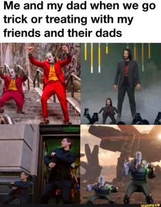Me and my dad when we go trick or treating with my friends and their dads 'C' - iFunny :) Funny Batman Memes, Funny Animal Memes, Funny Relatable Memes, Funny Texts, Funny Animals, Funny Quotes, Funny Joker, Funny Avengers, Avengers Movies