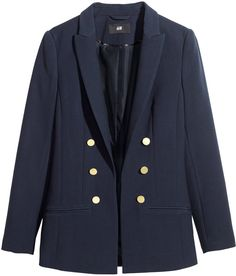 H amp M Fitted Jacket - Dark blue - Ladies on shopstyle.com Double Breasted 4b642bb3d