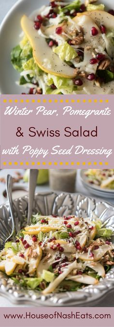 Winter Pear, Pomegranate & Swiss Salad is a gorgeous way to use some of the best fruits of the season and perfect for any holiday dinner. The homemade Poppy Seed Dressing that goes with it is a family recipe that has been passed down and it makes a wonder Coleslaw, Poppy Seed Dressing, Grenade, Healthy Salad Recipes, Winter Salad Recipes, Christmas Salad Recipes, Healthy Meals, Healthy Christmas Dinner Recipes, Vegetarian Christmas Dinner