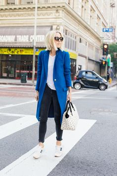 True Blue: Great look by Damsel in Dior. Coat and New Balance Sneakers from J.Crew.