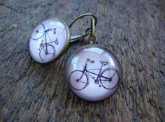 bike earrings pink tint road bike athletic outdoors by IrmaBean, $15.00