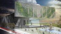 LOT-EK's proposal calls for the use of 1,620 recycled shipping containers as a building ma...