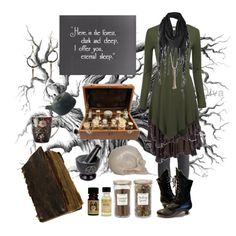 Dark Mori Witch - potion brewing by bloodmoonsuccubus on Polyvore featuring Cooper by Trelise, H&M, Crow Jane Jewelry, Rachel Entwistle, Firetrap, Portland General Store, AllSaints and Williams-Sonoma