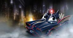 Cars - Batmobile by ~danyboz on deviantART Batman Comic Art, Batman And Superman, Batman 1966, Spiderman, Cars Series, Car Posters, Movie Posters, Disney Pixar Cars, Batmobile
