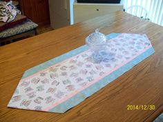 Handmade Table Runner with teacup print by TheMockingbirdNest