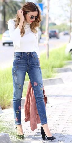 Floral Print Jeans + White Top                                                                             Source