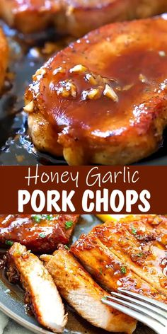 BONELESS PORK CHOPS Boneless pork chops skillet with honey garlic sauce takes 15 mins to make. This is one of the best boneless pork chop recipes, with only 5 main ingredients! Easy Pork Chop Recipes, Baked Chicken Recipes, Crockpot Recipes, Cooking Recipes, Keto Chicken, Baked Porkchop Recipes, Garlic Sauce Recipes, Healthy Chicken, Boneless Porkchop Recipes