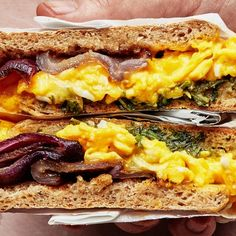 Healthyish Breakfast Sandwiches: You may not mistake these jammy-crisp, slow-cooked onions for bacon, but they are truly exceptional as a stand-in, giving a huge blast of umami to create a truly satisfying breakfast sandwich. Breakfast Sandwich Recipes, Healthy Breakfast Recipes, Brunch Recipes, Dinner Recipes, Breakfast Ideas, Mexican Breakfast, Breakfast Pizza, Brunch Ideas, Breakfast Dishes