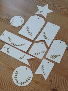 simple bough of greenery - could watercolor these! xmas tags via espritchampetre. Noel Christmas, Christmas Gift Tags, Xmas Cards, Xmas Gifts, Christmas Crafts, Christmas Decorations, Paper Crafts, Diy Crafts, Do It Yourself Home