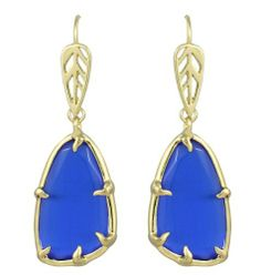 Kendra Scott Eden Drop Earrings Cobalt Blue Cats Eye 14k Gold Plated Kendra Scott. $60.00. Comes in a gift box and its Kendra Scott signature medallion fabric bag.. Closure Type:  Ear Wire Closures. Stone/Color:  Natural Cobalt Cats Eye, which is a marine blue.  Note: Due to the one-of-a-kind nature of the medium, exact color patterns may vary from the image shown.. Style:  Dangle, Drop, #E4028  --  Metal:  14k Gold Plated over Brass. Measurements:  Approximat...