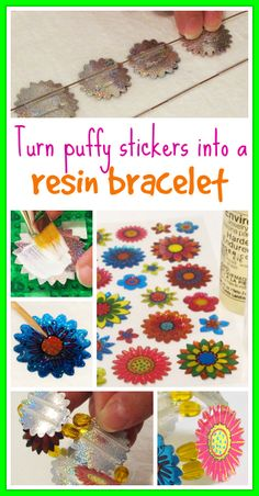 Resin Obsession blog:  How to turn puffy stickers into a wearable bracelet using resin