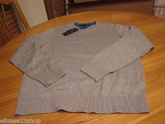 Men's Tommy Hilfiger long sleeve sweater shirt lux cotton XXL 2XL grey 004 gray