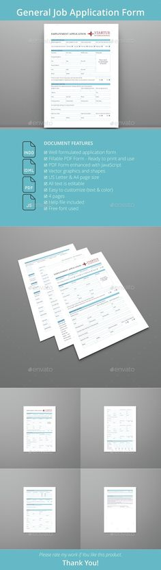 General Job Application PDF Form — InDesign INDD #register #indesign • Available here → https://graphicriver.net/item/general-job-application-pdf-form-/15357262?ref=pxcr