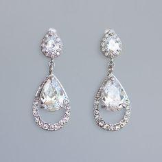 Bridal Chandelier Earrings CLIP ON Earring Option by JamJewels1