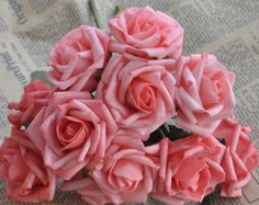 72 pcs Artificial Flowers Coral Wedding Flowers Supplies Fake Foam Roses Floral Wedding Decor Bridal Bouquet Flowers