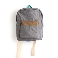 grey denim backpack with caramel brown pouch. by ziazia on Etsy, $52.00