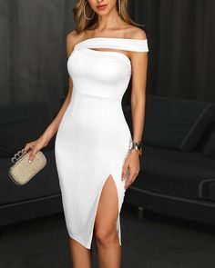 One Shoulder Slit Party Dress Shop- Women's Best Online Shopping - Offering Huge Discounts on Dresses, Lingerie , Jumpsuits , Swimwear, Tops and More. Classy Dress, Classy Outfits, Provonias Wedding Dress, Elegant Dresses, Formal Dresses, Party Dresses For Women, Body Con Dress, Fishtail Dress, Custom Dresses