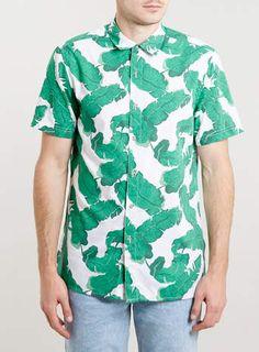 White Short Sleeve Banana Leaf hawaiian print shirt