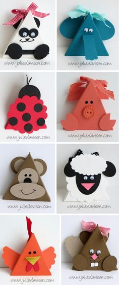 More Triangle Box Punch Art Critters + video tutorial for triangle box www.juliedavison.com: