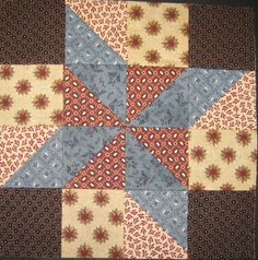 Civil War Sampler Block from Primitive Gatherings - design by Barbara Brackman Strip Quilts, Patch Quilt, Mini Quilts, Half Square Triangle Quilts Pattern, Square Quilt, Machine Quilting Designs, Quilting Projects, Quilt Block Patterns, Quilt Blocks