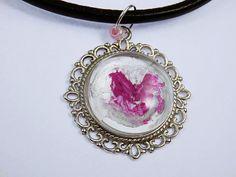 abstraktes Herz handgemalt  Glas Cabochon Kette von ArtJewelryFun