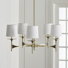 Shop Kent 5-Arm Brass Chandelier.  Our stunning Kent chandelier pays tribute to mid-century design with an updated sensibility.