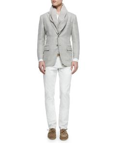 Madrid Check Denim Sport Jacket, Andre Long-Sleeve Linen Shirt & Four-Pocket Cotton/Linen Trousers by Loro Piana at Neiman Marcus.