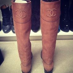 chanel boots, a must! #ridingboots #chanel #leather