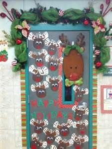 Christmas Door Decor With Our Staff Names On The Reindeer.cute Idea For  Elementary School!