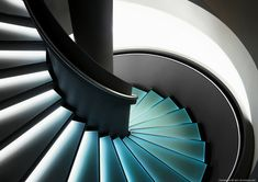 unexpected nature_Glass spiral staircase with backlighting _ German clock Museum, Saxonia _ Stair Risers, Stair Steps, Interior Architecture, Interior And Exterior, Interior Design, Photo D'architecture, Escalier Design, Stair Lighting, Take The Stairs
