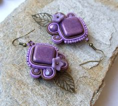 5 OFF Soutache Earrings Purple Dangle Earrings by RedTulipDesign Flower Earrings, Dangle Earrings, Diy Bead Embroidery, Soutache Jewelry, Polymer Clay Jewelry, Statement Jewelry, Dangles, Gifts For Her, Etsy