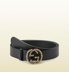 022643eca04bcf black leather belt with studded interlocking G buckle