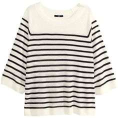H&M Fine-knit top (100 SEK) via Polyvore featuring tops, 3/4 sleeve tops, white top, h&m tops, 3/4 length sleeve tops and three quarter sleeve tops