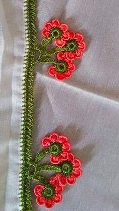 Crochet Borders, Crochet Flower Patterns, Crochet Flowers, Crochet Lace, Crochet Stitches, Hand Embroidery Videos, Embroidery Patterns, Creative Embroidery, Needlework