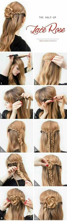 Coole und einfache DIY Frisuren – The Half Up Lace Rose – Schnelle und einfache Ideen für Cool and Easy DIY Hairstyles – The Half Up Lace Rose – Quick and Easy Ideas for Back to School Styles for Medium, Short and Long Hair – Fun Tips and Best Step by Ste Cool Easy Hairstyles, Step By Step Hairstyles, Diy Hairstyles, Hairstyle Tutorials, Wedding Hairstyles, Gorgeous Hairstyles, Hairstyle Ideas, Hairstyles 2018, Elegant Hairstyles