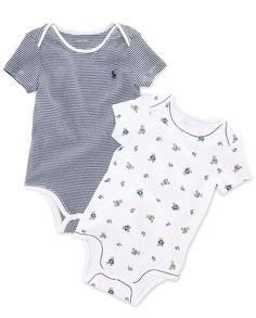 Polo Baby Bodysuit, Baby Boys Print Bodysuit 2 Pack - Kids Baby Boy (0-24 months) - Macy's